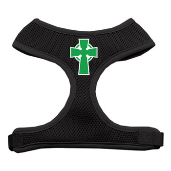 Celtic Cross Screen Print Soft Mesh Pet Harness - Black