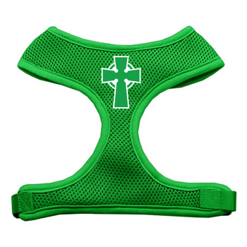 Celtic Cross Screen Print Soft Mesh Pet Harness - Emerald Green