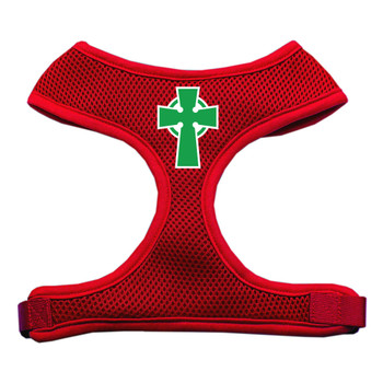 Celtic Cross Screen Print Soft Mesh Pet Harness - Red