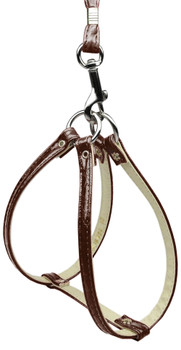 Faux Snake Skin Step In Harness - Brown