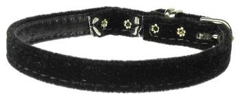 """Velvet 3/8"""" Plain Cat Collar W/ Band - Black"""