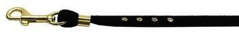 Velvet Flat Leash Black 3/8 Clear Jewel Leash
