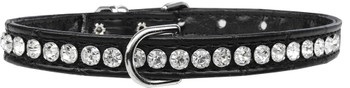 Beverly Style Rhinestone Designer Croc Dog Collar - Black