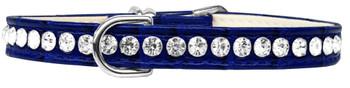 Beverly Style Rhinestone Designer Croc Dog Collar - Blue