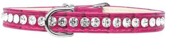 Beverly Style Rhinestone Designer Croc Dog Collar - Bright Pink