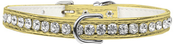 Beverly Style Rhinestone Designer Croc Dog Collar - Gold