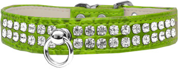 Style #72 Rhinestone Designer Croc Dog Collar - Lime Green