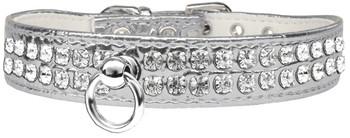 Style #72 Rhinestone Designer Croc Dog Collar - Silver