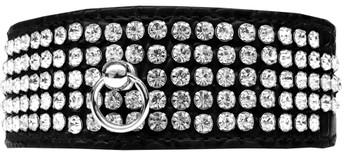 Mirage 5 Row Rhinestone Designer Croc Dog Collar - Black