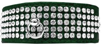 Mirage 5 Row Rhinestone Designer Croc Dog Collar - Emerald Green
