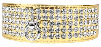 Mirage 5 Row Rhinestone Designer Croc Dog Collar - Gold