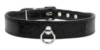 Faux Snake Skin #70 Dog Collar - Black