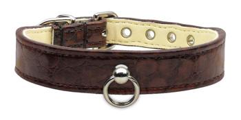 Faux Snake Skin #70 Dog Collar - Chocolate Brown