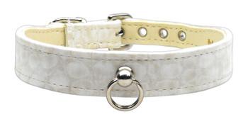 Faux Snake Skin #70 Dog Collar - Off-white