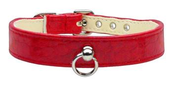 Faux Snake Skin #70 Dog Collar - Red