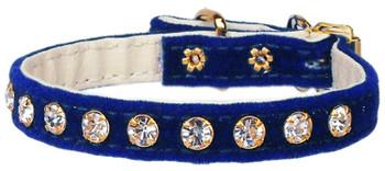 Velvet #10 Dog Collar - Blue - Tiny Pets