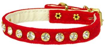 Velvet #10 Red Dog Collar - Tiny Pets
