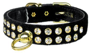 Velvet #31 Dog Collar - Black  - Tiny Pets