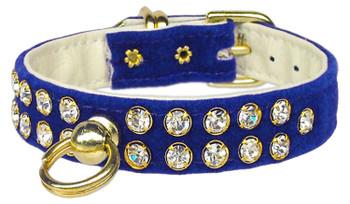 Velvet #31 Dog Collar - Blue - Tiny Pets