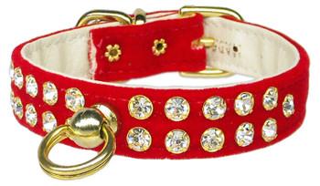Velvet #31 Dog Collar - Red - Tiny Pets