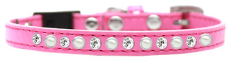Pearl And Clear Jewel Breakaway Cat Collar - Bright Pink