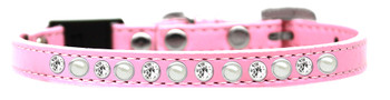 Pearl And Clear Jewel Breakaway Cat Collar - Light Pink