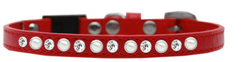 Pearl And Clear Jewel Breakaway Cat Collar - Red