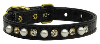 "3/8"" Pearl And Clear Crystals Collar - Black"