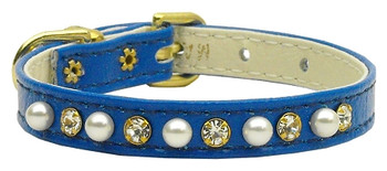 "3/8"" Pearl And Clear Crystals Collar - Blue"