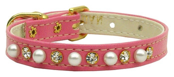 """3/8"""" Pearl And Clear Crystals Collar - Pink"""