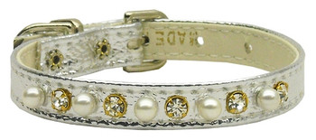 """3/8"""" Pearl And Clear Crystals Collar - Silver"""