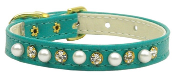 """3/8"""" Pearl And Clear Crystals Collar - Turquoise"""
