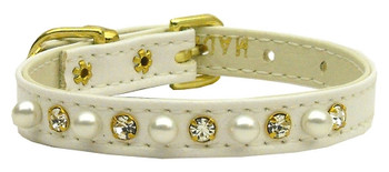 """3/8"""" Pearl And Clear Crystals Collar - White"""