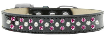 Sprinkles Ice Cream Dog Collar Pearl And Bright Pink Crystals - Black