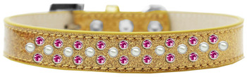 Sprinkles Ice Cream Dog Collar Pearl And Bright Pink Crystals - Gold