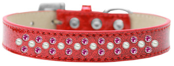 Sprinkles Ice Cream Dog Collar Pearl And Bright Pink Crystals - Red