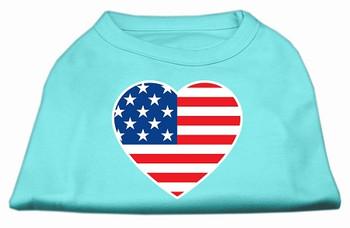 American Flag Heart Screen Print Dog Shirt - Aqua