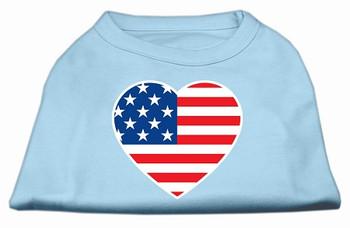 American Flag Heart Screen Print Dog Shirt - Baby Blue