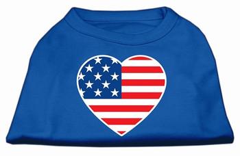 American Flag Heart Screen Print Dog Shirt - Blue
