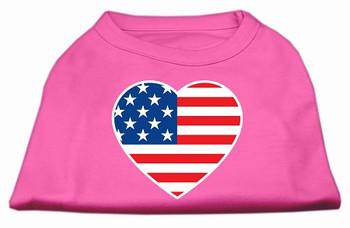 American Flag Heart Screen Print Dog Shirt - Bright Pink