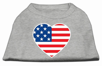 American Flag Heart Screen Print Dog Shirt - Grey