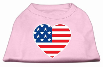 American Flag Heart Screen Print Dog Shirt - Light Pink