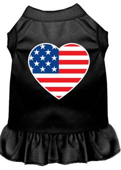 American Flag Heart Screen Print Dress - Black