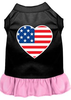 American Flag Heart Screen Print Dress - Black With Light Pink