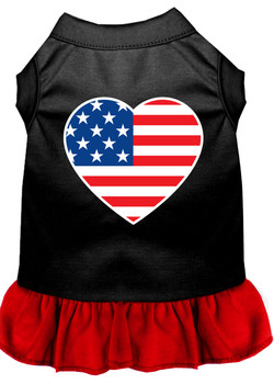 American Flag Heart Screen Print Dress - Black With Red