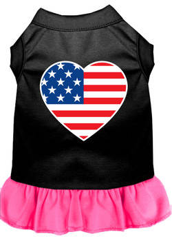 American Flag Heart Screen Print Dress - Black With Bright Pink