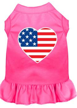 American Flag Heart Screen Print Dress - Bright Pink