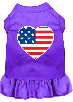 American Flag Heart Screen Print Dress - Purple