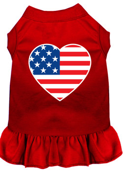 American Flag Heart Screen Print Dress - Red