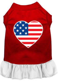 American Flag Heart Screen Print Dress - Red With White